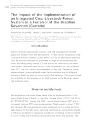 Thumbnail de The impact of the implementation of an integrated crop-livestock-forest system in a Ferralsol of the brazilian savannah (Cerrado).
