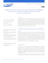 Thumbnail de Toxicity of Lippia origanoides essential oil in tambaqui (Colossoma macropomum) and its effect against Aeromonas hydrophila.