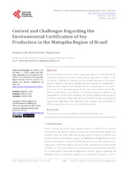 Thumbnail de Context and challenges regarding the environmental certification of soy production in the Matopiba region of Brazil.
