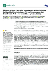 Thumbnail de Antiproliferative Activity on Human Colon Adenocarcinoma Cells and In Vitro Antioxidant Effect of Anthocyanin-Rich Extracts from Peels of Species of the Myrtaceae Family.