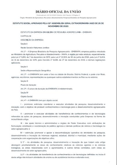Estatuto da Embrapa - Decreto 7766/2012