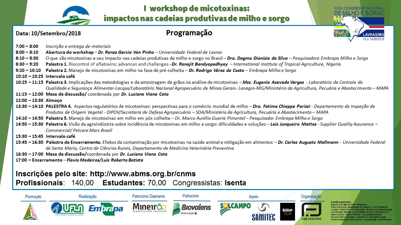 convite I Workshop de Micotoxinas: impactos nas cadeias produtivas de milho e sorgo