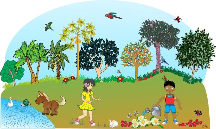 Cenário Árvores: Floresta com Amai e Rudah brincando, além de pássaros, o cavalinho, o sabo, borboleta, abelhas e pássaros