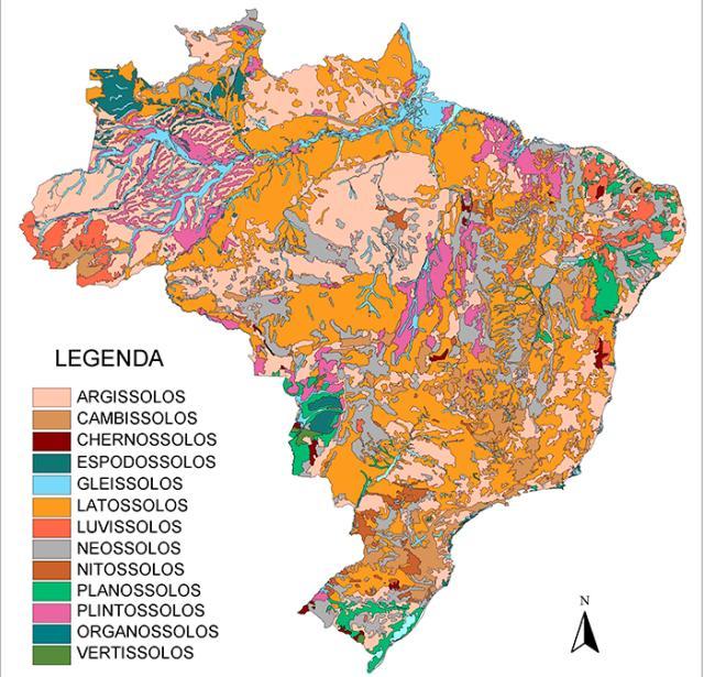 Divulgação - Mapa de solos do Brasil na escala 1:5.000.000. Um melhor conhecimento do solo do nosso país permitirá a execução de mapas com melhor escala