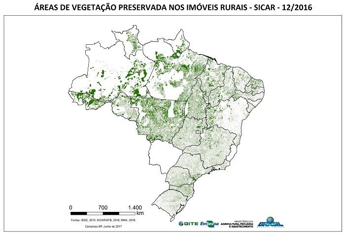 - Áreas mapeadas de vegetação preservada nos imóveis rurais cadastrados no SICAR até dezembro de 2016