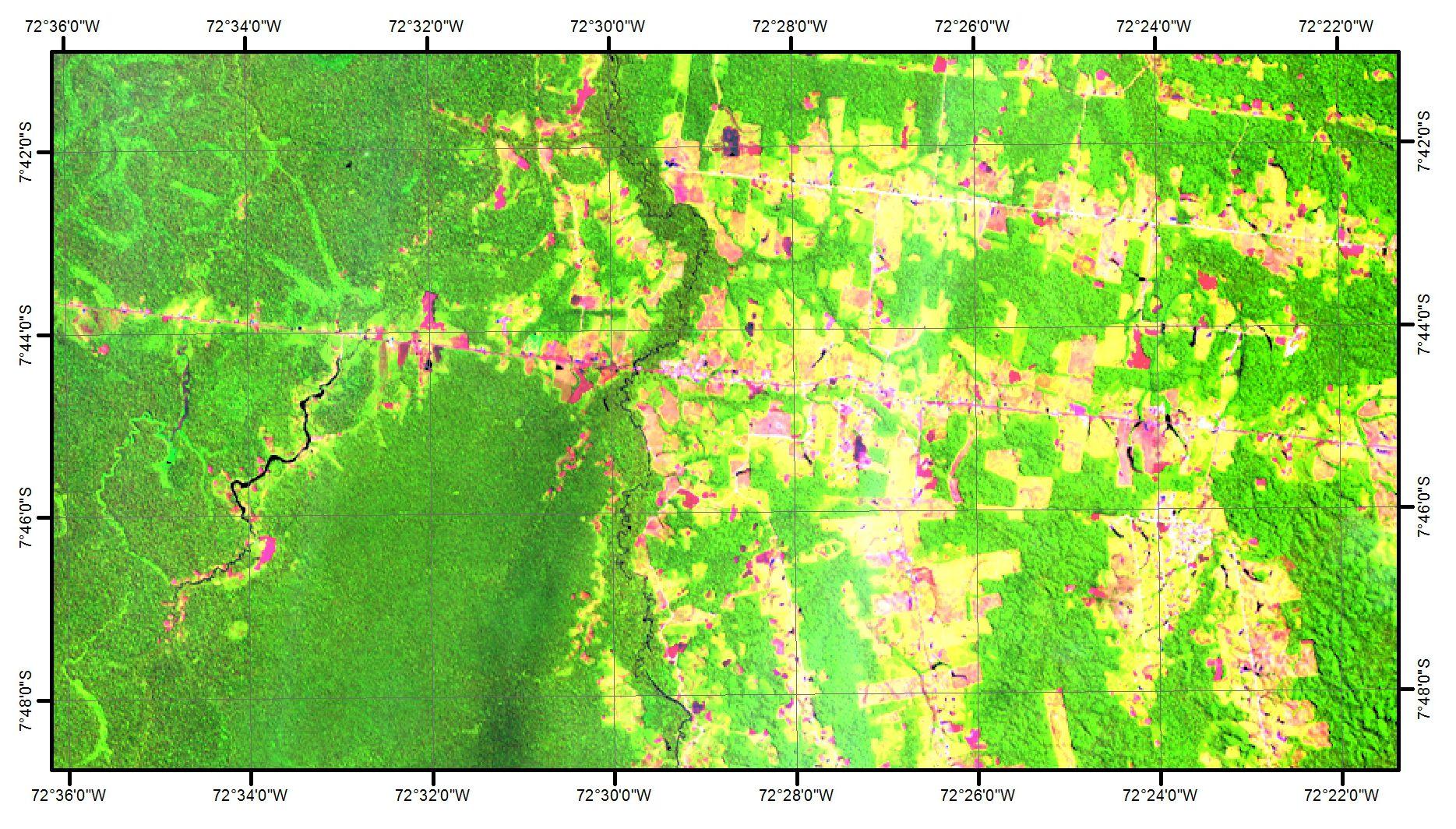 Imagem de Satélite - Setor Norte dos assentamentos Jamil Jeiressati e Santa Luzia (Cruzeiro do Sul/AC). Características distintas dos solos da região favorecem diferentes estratégias de manejo na agricultura