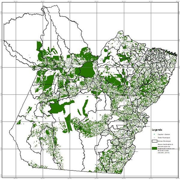 Imagem: Embrapa Territorial - As áreas em verde indicam espaços destinados à preservação da vegetação nativa dentro das propriedades rurais no Pará