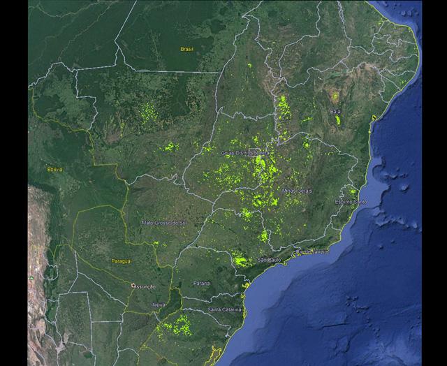 Embrapa Milho e Sorgo / ANA - Distribuição geográfica dos pivôs centrais no Brasil