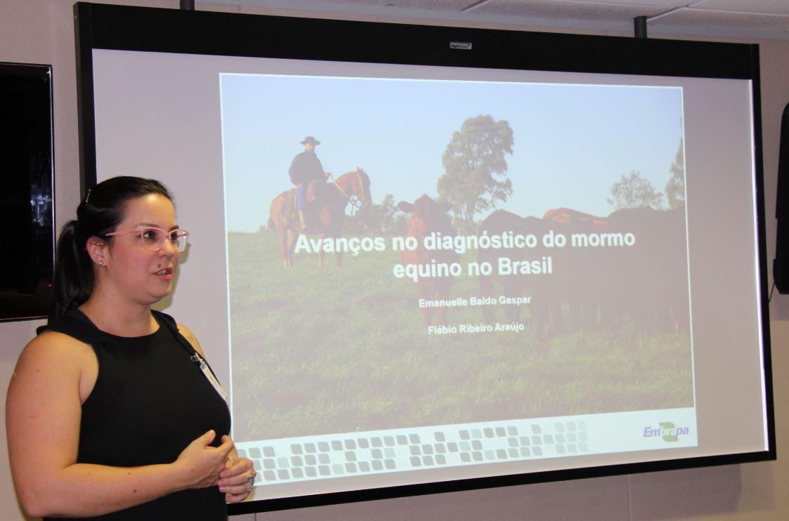 Maria Clara Guaraldo - Pesquisadora da Embrapa Pecuária Sul, Emanuelle Gaspar, apresenta os estudos para diagnóstico do mormo durante reunião com o Mapa