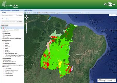 GeoWeb/Embrapa - Usuário poderá realizar consultas em diversos planos de informações sobre o Matopiba.
